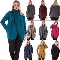 Womens Italian Zip Lagenlook Wool Winter Knitted Jackets Funnel Neck Poncho Coat