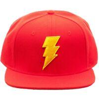 DC COMICS RED SHAZAM JUSTICE LEAGUE 3D BOLT LOGO SNAPBACK HAT CAP FLAT BILL MENS