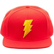 DC COMICS RED SHAZAM JUSTICE LEAGUE 3D BOLT LOGO SNAPBACK HAT CAP FLAT BILL MENS