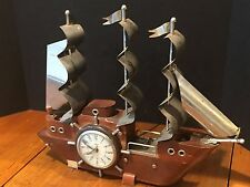 Vintage United Metal Goods Electric Nautical Sailing Ship Clock and Table Lamp
