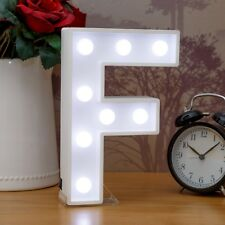 Light Up Letter F - White Marquee Letters 23cm LED Wooden Letter Lights Sign A-Z