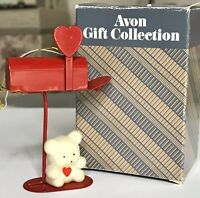1987 Vintage Avon Valentine Teddy Bear Collection On Metal Mailbox Ornament