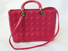 DIOR LADY DIOR HOT PINK QUILTED TOTE BAG