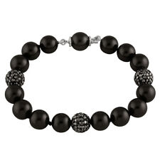 10mm Peacock shell pearl bracelet with 3 Black CZ pave crystal balls OB-01