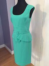 $ 2,300 Oscar De La Renta Belted Wool-Blend Peplum Dress,size 10