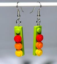 Earrings made with LEGO bricks - light green with red elements