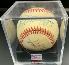 Joe DiMaggio & Willie Mays Autographed ONL Baseball PSA/DNA 7.5 NM+ HOF
