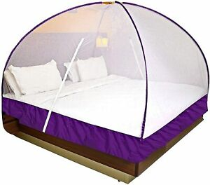 Onlinetree Mosquito Net for Double Bed (Colour-Violet