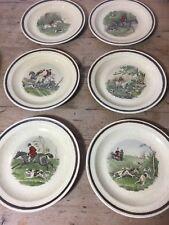 """6 Royal Worcester Palissy 'TheFamous Herring Hunting Scenes' tableware 10"""""""