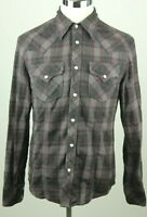 True Religion Men's Western Style Flannel shirt long sleeve Snap Front Size Medi
