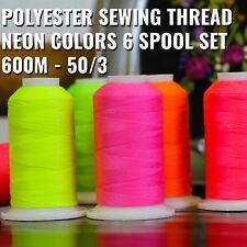 Neon Colors Polyester Sewing Thread Set 6 Spools 600M 50/3 - Threadart