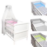 Babybett Kinderbett Juniorbett weiß 140x70 Bettwäsche Bettset komplett Neu Grau