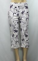 Sport Savvy Women's Stretch  Capri Crop Pants Floral White/Purple Size S