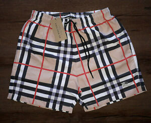 NEW BURBERRY BROWN DRAWCORD SWIM SHORTS BEACH TRUNKS