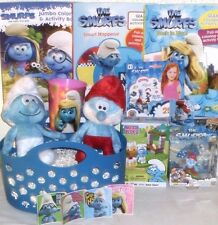 NEW SMURFS EASTER TOY GIFT BASKET PLUSH DOLLS BOOKS FIGURE MEGA BLOKS PLAYSET
