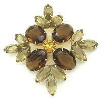 Topaz Smokey Rhinestone Diamond Shape Brooch Open Back Vintage
