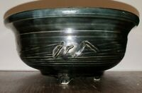 Japanese Style Studio Pottery Footed Bowl Marked Sides Green Glaze With Red