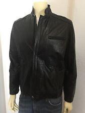 Vintage Philippe Monet Black Leather Cafe Motorcycle Biker Coat Jacket Size 42 M
