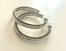 Brighton SPECTRUM Large Hoop Earrings Clear Swarovski Crystals  RARE POUCH $72
