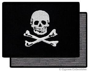 PIRATE FLAG PATCH JOLLY ROGER Skull Crossbones BLACK w/ VELCRO® Brand Fastener