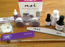 NSI Attraction Acrylic Natural Nails Deluxe Starter Kit Powders Glue Primer File