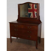 An Edwardian Mahogany Mirrored Dressing Table Raised over Chest Base