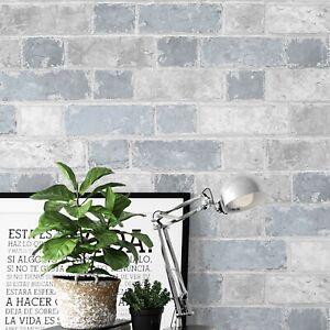 Brick Wall Effect Stone Sky Blue Light Grey Rustic Wallpaper Bedroom Boys Girl