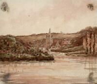 CHENEHUTTE-TREVES-CUNAULT FRANCE Small Watercolour Painting - 19TH CENTURY