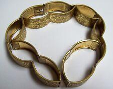 Rare Vintage Art Deco Embossed Floral Brass Belt