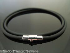 "3mm Black Rubber Necklace Stainless Steel Magnetic Twist Clasp 16"" 18"" 20"" 22"""