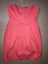Shoshanna Women's Strapless Pink Cotton Polyester Casual Lined Dress Sz 6 NWT
