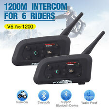 2 pcs 1200M 6 Riders BT Bluetooth Motorcycle Helmet Interphone Intercom Headset