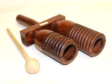 Wooden Agogo Block Professional Ribbed Hand Percussion Nice Gift Great Sound