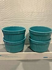 New listing The Pioneer Woman Set Of 4 Teal 9 Ounce Stoneware Ramekin Bowls Hard To Find