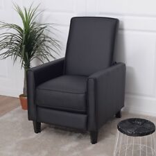 Single PU Leather Recliner Sofa Chair With Foot Extension Padded Seat  Armrest