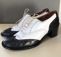 VTG 90'S NICKELS*BLACK&WHITE LEATHER OXFORD SPECTATOR CHUNKY HEELS SHOES*10