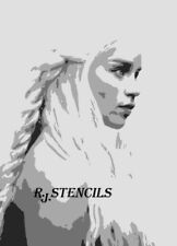 step by step Multilayer airbrush stencil queen of dragons