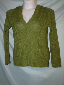 Rue21 Sold Green Hooded Deep V-Neck Long Sleeve Acrylic Sweater Size XL Juniors