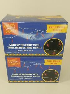 Lot Of 2 Chili Pepper String Lights 20 Bulbs Total 13 Feet Total Lasts 120 Hours