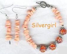 Pink Bamboo Coral Encased Lampwork Bracelet Earring Set