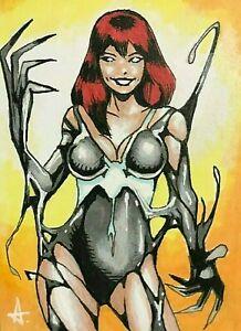 Spider-Man **VENOMIZED MARY JANE** MARVEL Sketch Card ACEO Original Art 1/1