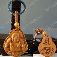 Lovely Chinese Classical Fine Wood Carving Lucky Buddha Keyring Key Chain A776