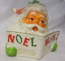 Vintage NAPCO Santa with Noel Christmas Book Planter Japan Pocelain
