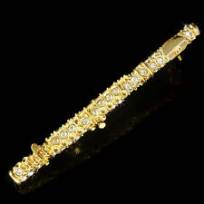 ~Flute Woodwind made with Swarovski Crystal Music Musical Instrument Gold Brooch