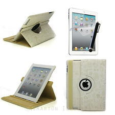 iPad 2 3 4 4G 360 Rotating Leather Embossed Cute Cartoon Smart Case Cover Ivory