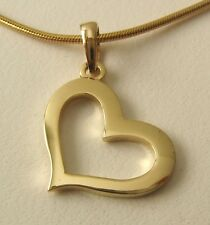 GENUINE SOLID  9K  9ct  YELLOW  GOLD  3D  OPEN  LOVE  HEART  PENDANT GIFT