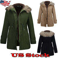 US Women's Warm Long Coat Fur Collar Hooded Jacket Slim Winter Parka Outwear Top