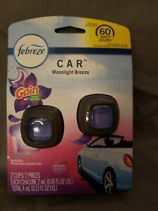 Febreze Car Vent Clip with Gain Moonlight Breeze Scent Air Freshener 2-pk NEW