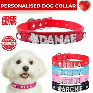 Dog Collar Leather Adjustable Personalised Pet Puppy Collars Rhinestone Bling UK