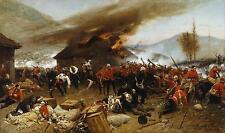 La défense de Rorke's Drift 1879 Alphonse de Neuville Zulu war imprimer 12x7 cm